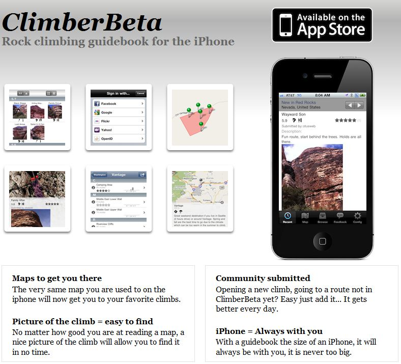 New iPhone App for Climbers: Rock Guidebook